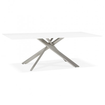 Glass and metal design dining table (200x100 cm) WHITNEY (white)