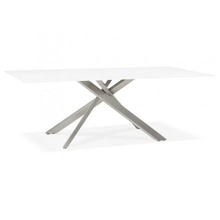 Tavolo da pranzo in vetro e metallo (200x100 cm) WHITNEY (bianco)