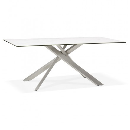 Diseño de acero cepillado cerámico y metálico (180x90 cm) FLORINA (blanco)