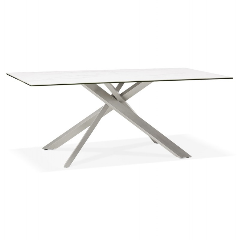 Table à manger design en céramique et métal acier brossé (180x90 cm) FLORINA (blanc)