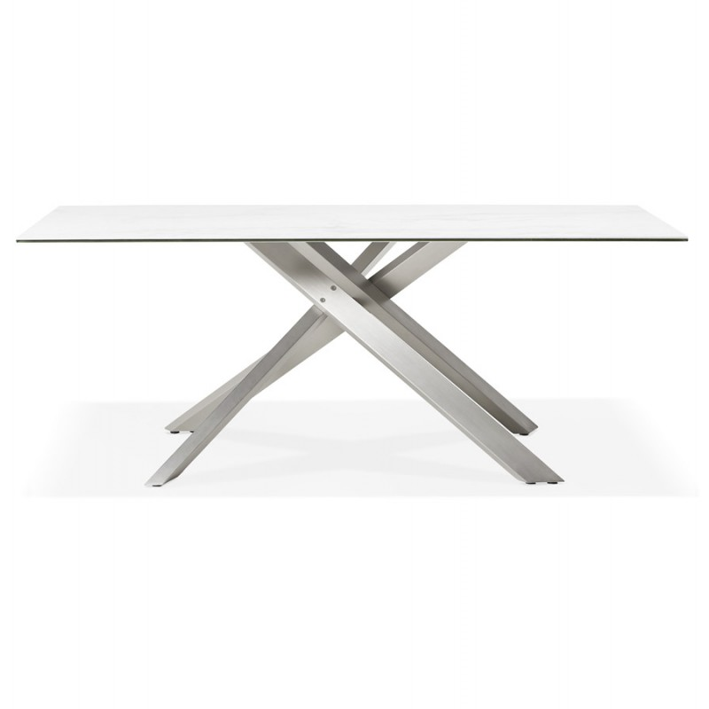 Diseño de acero cepillado cerámico y metálico (180x90 cm) FLORINA (blanco) - image 48792