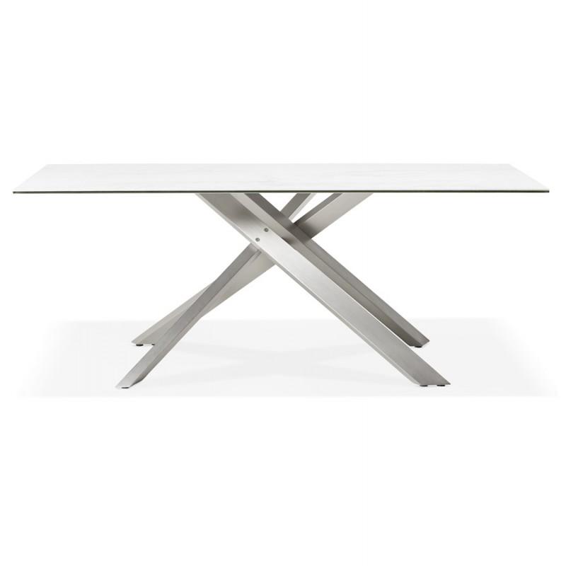 Table à manger design en céramique et métal acier brossé (180x90 cm) FLORINA (blanc) - image 48792