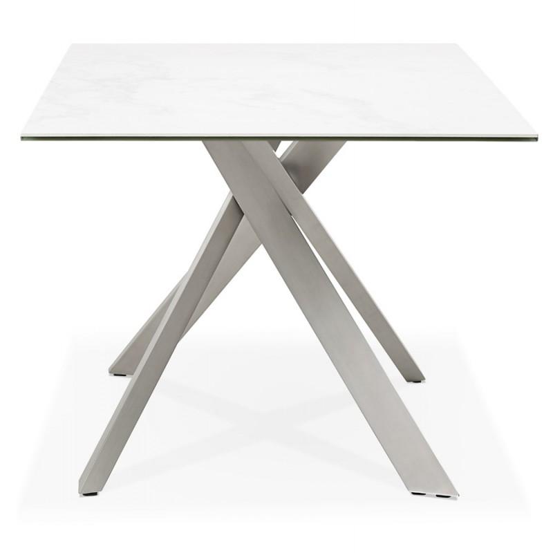 Table à manger design en céramique et métal acier brossé (180x90 cm) FLORINA (blanc) - image 48793