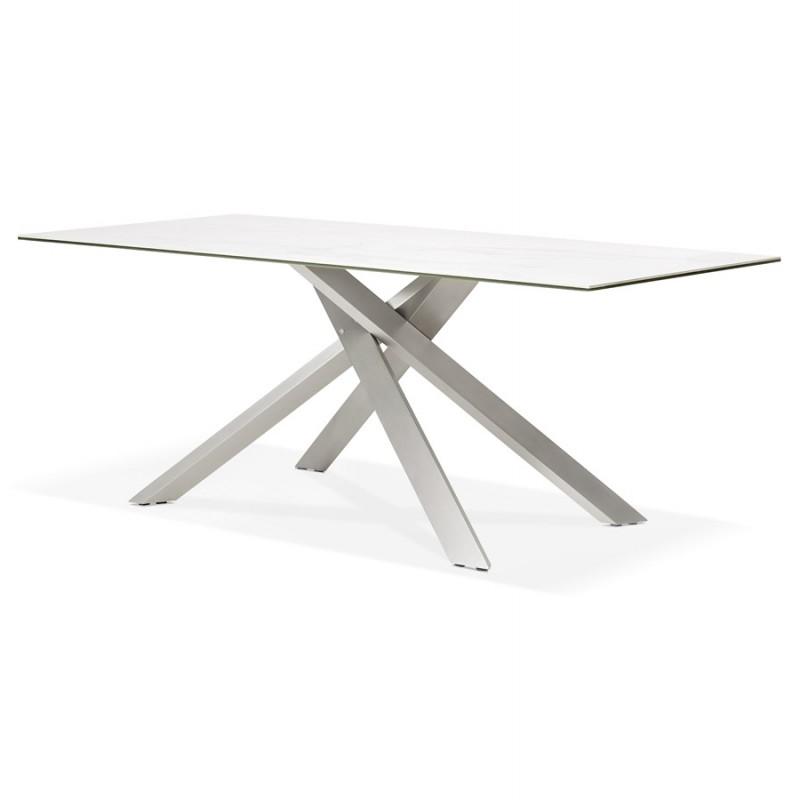 Table à manger design en céramique et métal acier brossé (180x90 cm) FLORINA (blanc) - image 48794