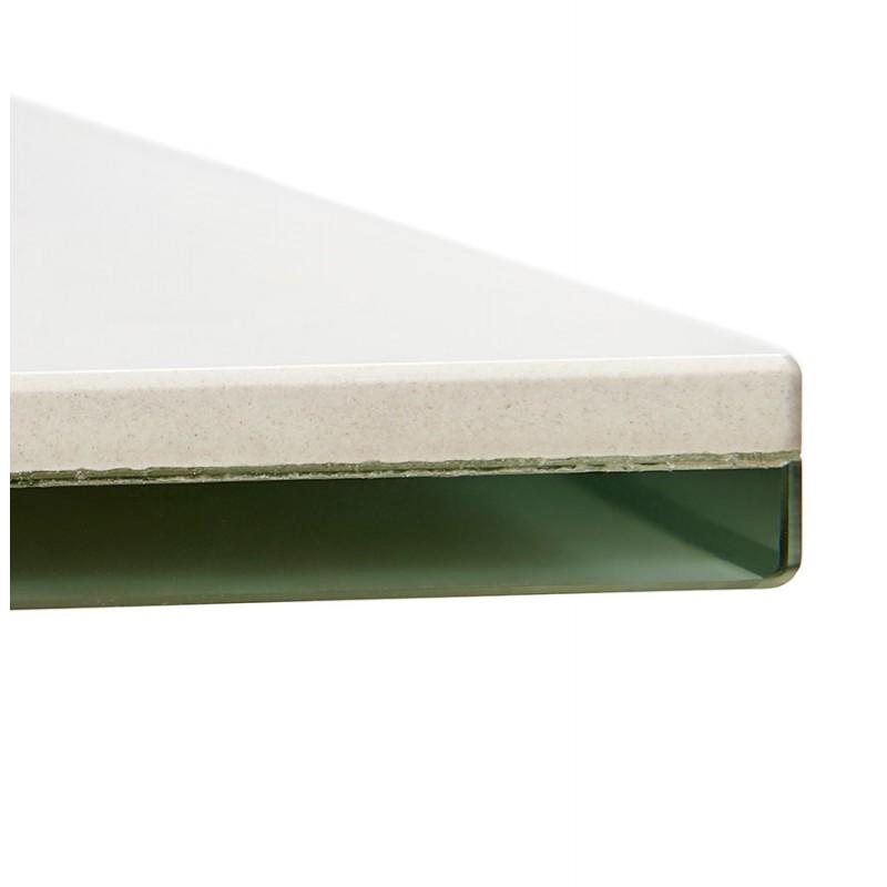 Table à manger design en céramique et métal acier brossé (180x90 cm) FLORINA (blanc) - image 48797