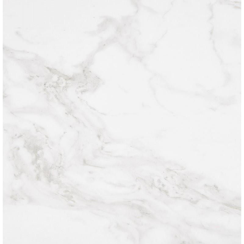 Table à manger design en céramique et métal acier brossé (180x90 cm) FLORINA (blanc) - image 48798