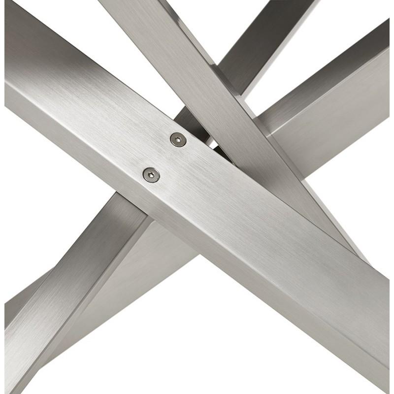 Table à manger design en céramique et métal acier brossé (180x90 cm) FLORINA (blanc) - image 48799
