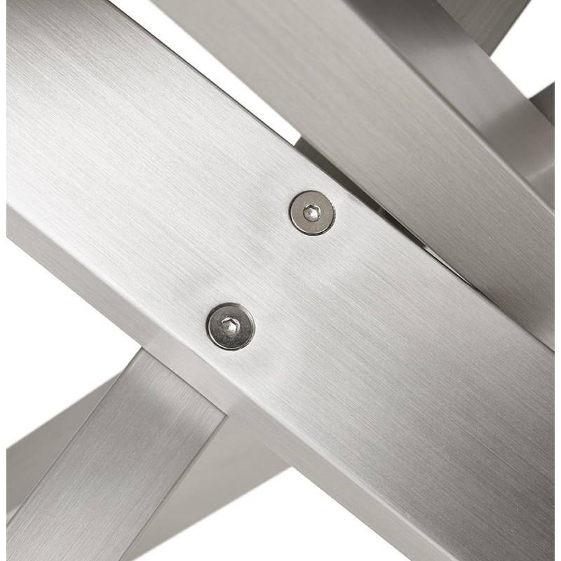 Table à manger design en céramique et métal acier brossé (180x90 cm) FLORINA (blanc) - image 48800
