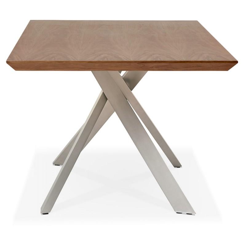 Table à manger design en bois et métal acier brossé (200x100 cm) CATHALINA (noyer) - image 48804