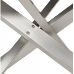 Table à manger design en bois et métal acier brossé (200x100 cm) CATHALINA (noyer)