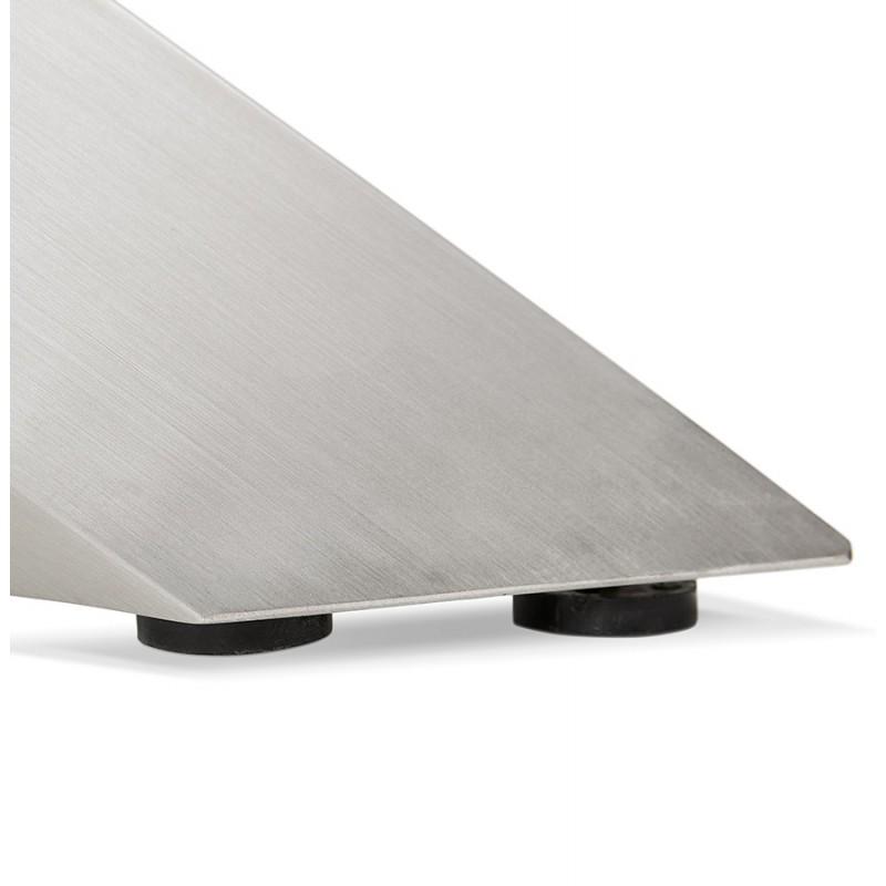 Table à manger design en bois et métal acier brossé (200x100 cm) CATHALINA (noyer) - image 48811