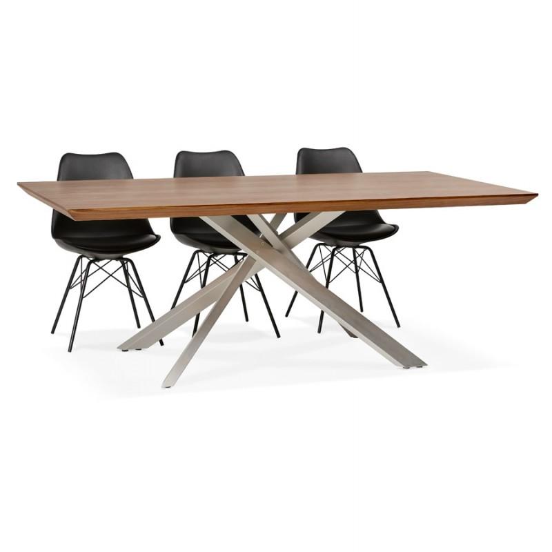 Table à manger design en bois et métal acier brossé (200x100 cm) CATHALINA (noyer) - image 48812