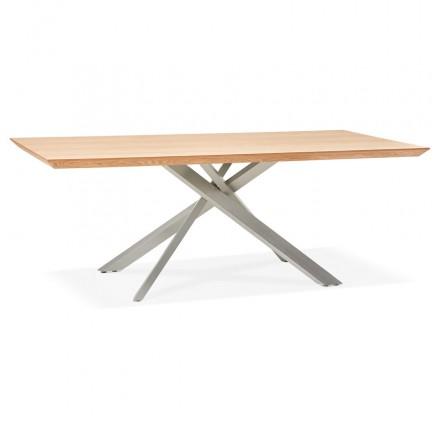 Holz- und Metall-Gebürstetes Stahldesign (200x100 cm) CATHALINA (natürliche Oberfläche)