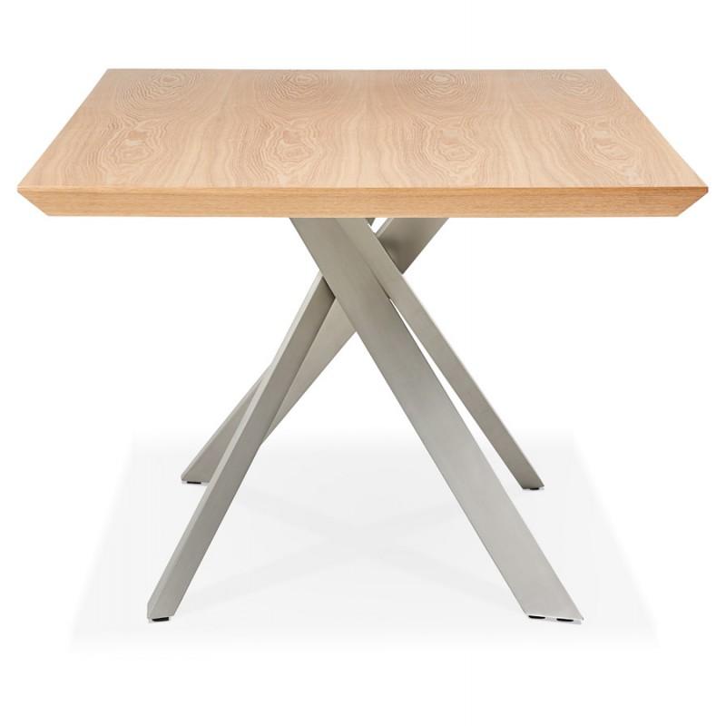 Table à manger design en bois et métal acier brossé (200x100 cm) CATHALINA (finition naturelle) - image 48815