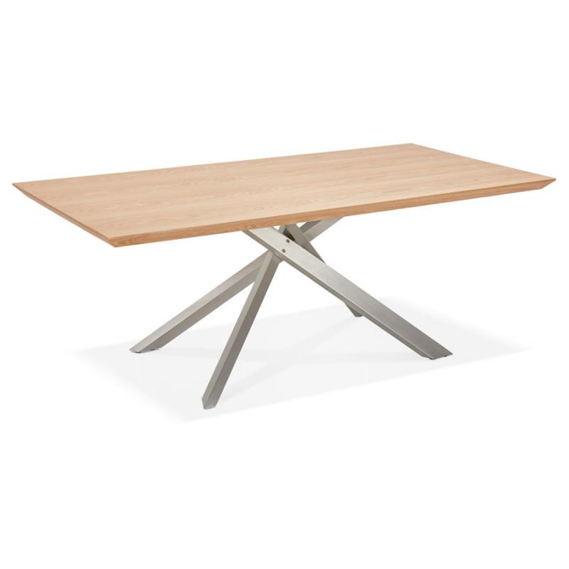 Table à manger design en bois et métal acier brossé (200x100 cm) CATHALINA (finition naturelle) - image 48817