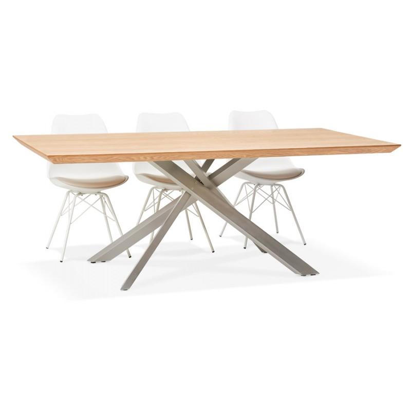 Table à manger design en bois et métal acier brossé (200x100 cm) CATHALINA (finition naturelle) - image 48823