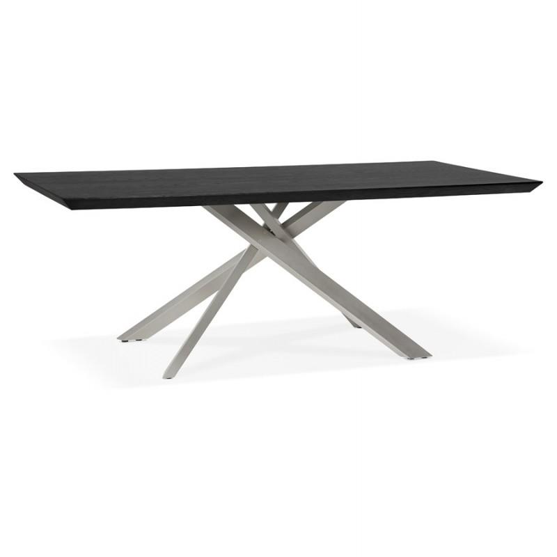 Diseño de madera y metal cepillado de acero cepillado (200x100 cm) CATHALINA (negro) - image 48824