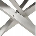 Diseño de madera y metal cepillado de acero cepillado (200x100 cm) CATHALINA (negro)