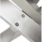Table à manger design en bois et métal acier brossé (200x100 cm) CATHALINA (noir)