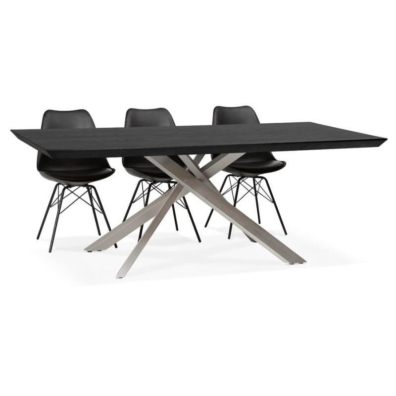 Table à manger design en bois et métal acier brossé (200x100 cm) CATHALINA (noir) - image 48833