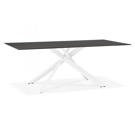 Tavolo da pranzo in vetro e metallo bianco (200x100 cm) WHITNEY (nero)