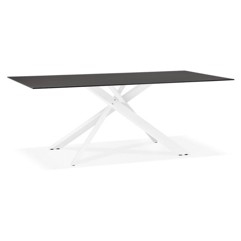 Mesa de comedor de diseño de vidrio y metal blanco (200x100 cm) WHITNEY (negro) - image 48834