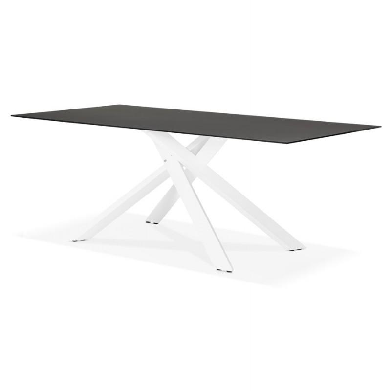 Mesa de comedor de diseño de vidrio y metal blanco (200x100 cm) WHITNEY (negro) - image 48837