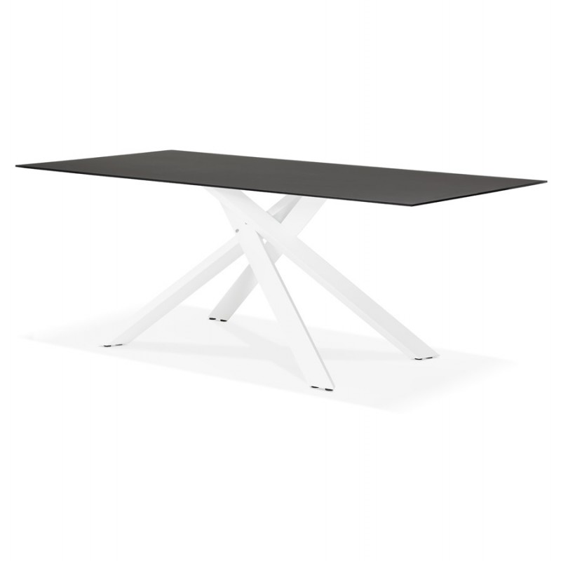 Glas- und Weißmetall-Design Esstisch (200x100 cm) WHITNEY (schwarz) - image 48837