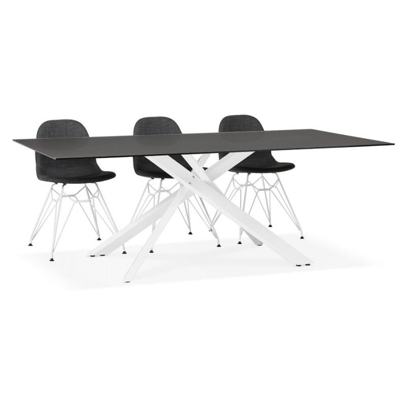 Mesa de comedor de diseño de vidrio y metal blanco (200x100 cm) WHITNEY (negro) - image 48844