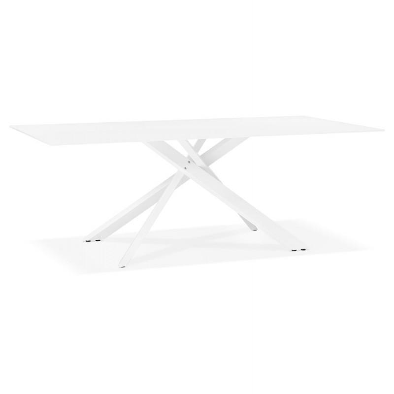 Table à manger designen verre et métal blanc (200x100 cm) WHITNEY (blanc) - image 48845