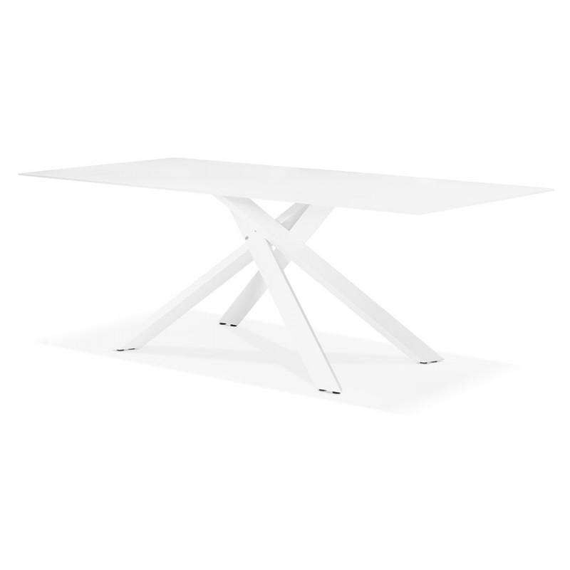 Table à manger designen verre et métal blanc (200x100 cm) WHITNEY (blanc) - image 48848