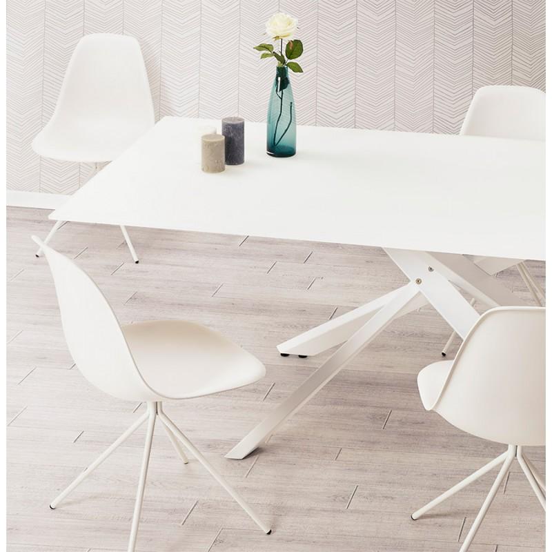 Table à manger designen verre et métal blanc (200x100 cm) WHITNEY (blanc) - image 48855