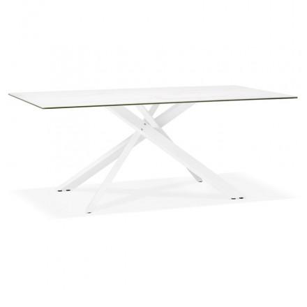 Diseño en cerámica y metal blanco (180x90 cm) FLORINA (blanco)