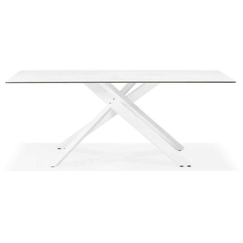 Table à manger designen céramique et métal blanc (180x90 cm) FLORINA (blanc) - image 48857