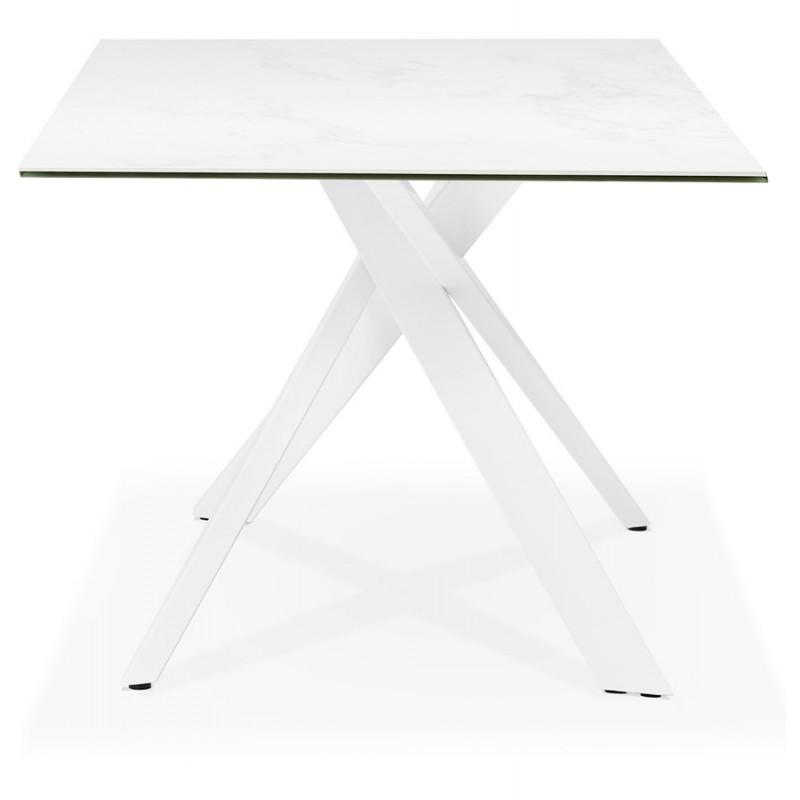 Table à manger designen céramique et métal blanc (180x90 cm) FLORINA (blanc) - image 48858
