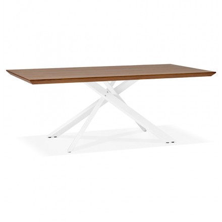 Wooden and white metal design dining table (200x100 cm) CATHALINA (drowning)