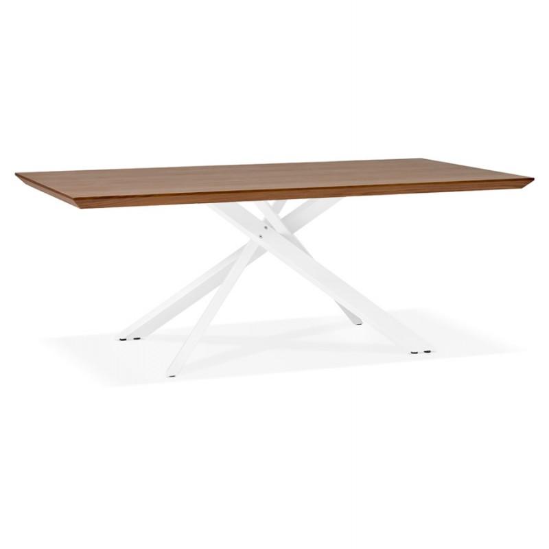 Mesa de comedor de diseño de madera y metal blanco (200x100 cm) CATHALINA (ahogamiento)