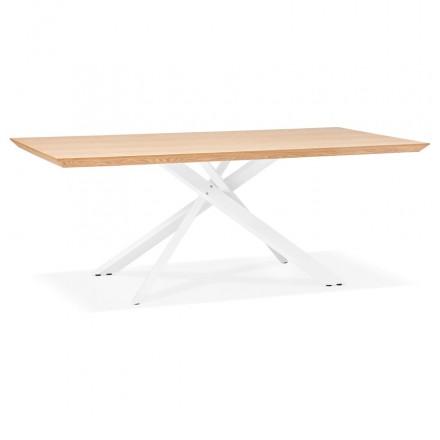 Table à manger design en bois et métal blanc (200x100 cm) CATHALINA (finition naturelle)