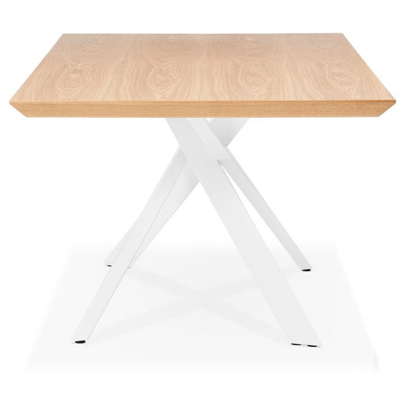 Mesa de comedor de diseño de madera y metal blanco (200x100 cm) CATHALINA (acabado natural) - image 48878