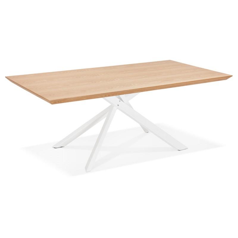 Mesa de comedor de diseño de madera y metal blanco (200x100 cm) CATHALINA (acabado natural) - image 48880