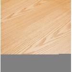 Mesa de comedor de diseño de madera y metal blanco (200x100 cm) CATHALINA (acabado natural)