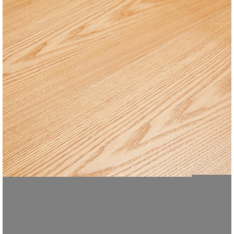 Mesa de comedor de diseño de madera y metal blanco (200x100 cm) CATHALINA (acabado natural) - image 48881