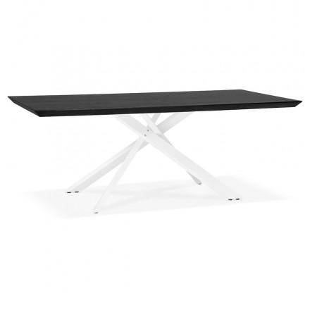 Table à manger design en bois et métal blanc (200x100 cm) CATHALINA (noir)