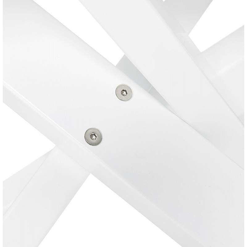 Table à manger design en bois et métal blanc (200x100 cm) CATHALINA (noir) - image 48888