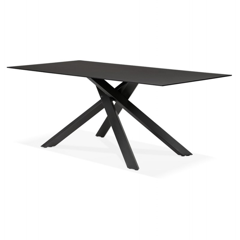 Mesa de comedor de diseño de vidrio y metal negro (200x100 cm) WHITNEY (negro) - image 48894