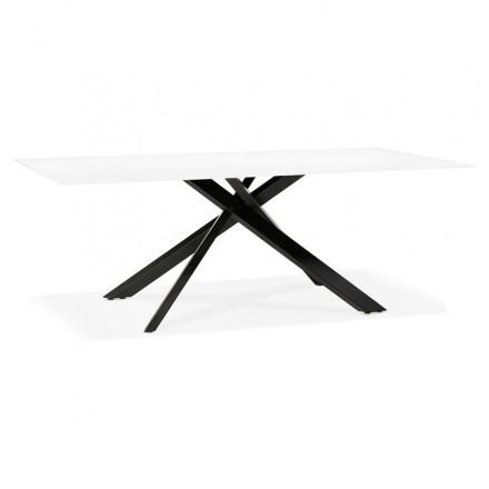 Glas- und Schwarzmetall-Design-Esstisch (200x100 cm) WHITNEY (weiß)