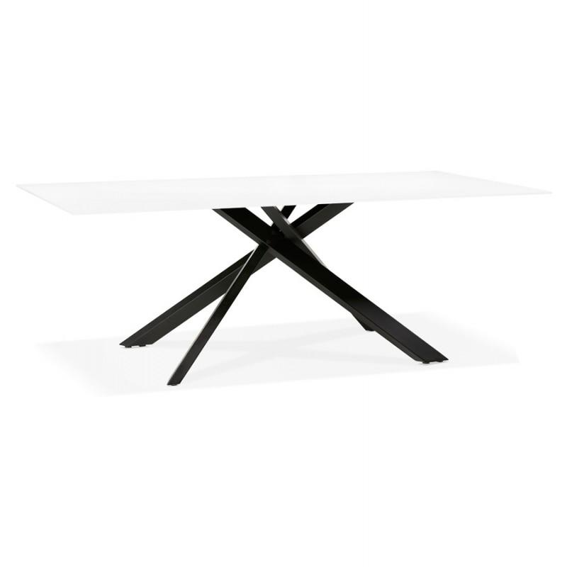 Table à manger design en verre et métal noir (200x100 cm) WHITNEY (blanc) - image 48901