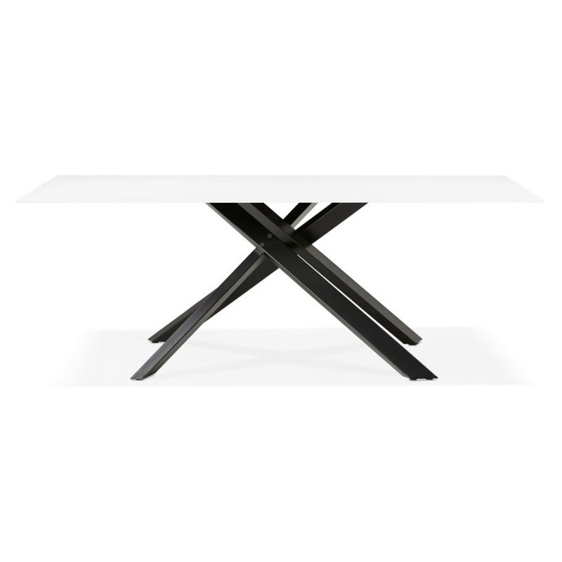 Mesa de comedor de diseño de vidrio y metal negro (200x100 cm) WHITNEY (blanco) - image 48902