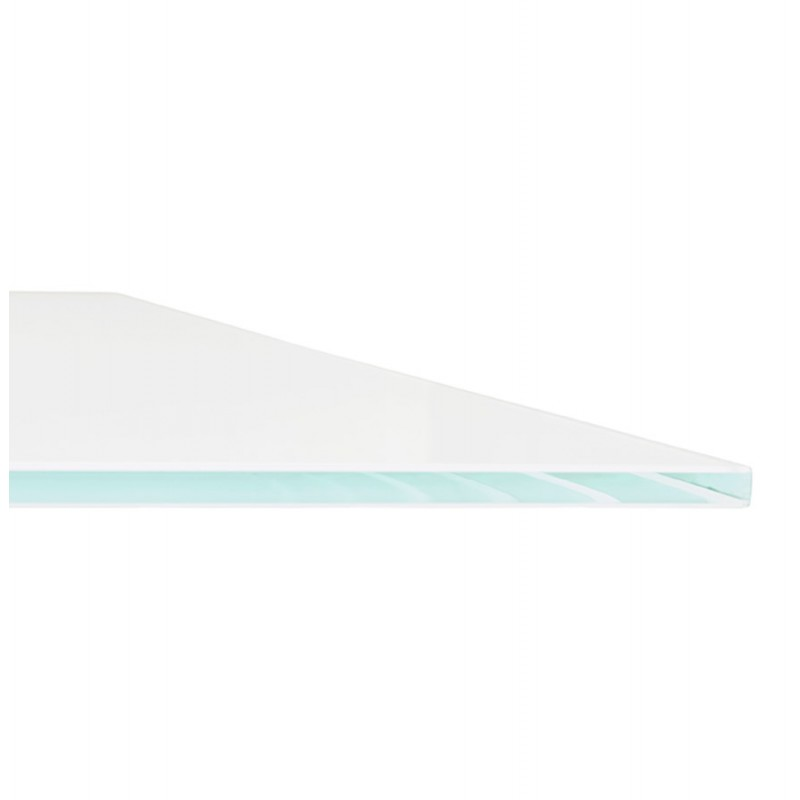 Table à manger design en verre et métal noir (200x100 cm) WHITNEY (blanc) - image 48906