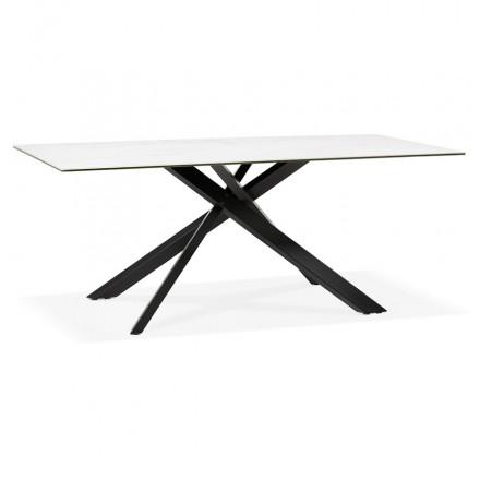Tavolo da pranzo in ceramica e metallo nero (180x90 cm) FLORINA (bianco)